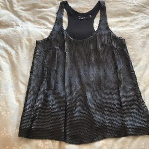New Theory black matte sequin & silk top size S